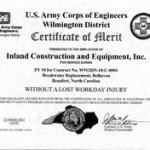 Photo of U.S. Army Corps of Engineers Certificate of Merit